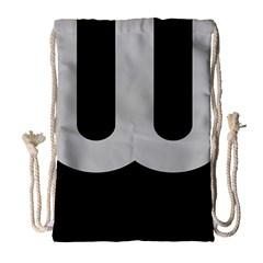 Black Grey Abstract  Drawstring Bag (Large)