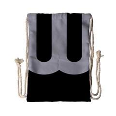 Black Grey Abstract  Drawstring Bag (Small)
