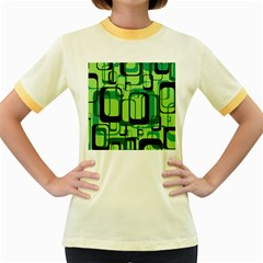Retro Pattern 1971 Green Women s Fitted Ringer T-Shirts