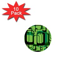 Retro Pattern 1971 Green 1  Mini Buttons (10 Pack)