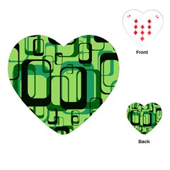 Retro Pattern 1971 Green Playing Cards (Heart)