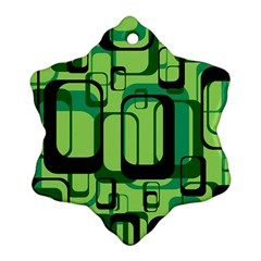 Retro Pattern 1971 Green Snowflake Ornament (2-Side)