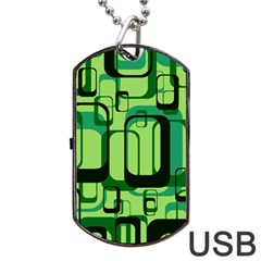 Retro Pattern 1971 Green Dog Tag USB Flash (One Side)