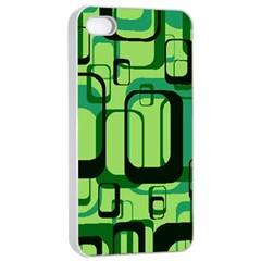 Retro Pattern 1971 Green Apple iPhone 4/4s Seamless Case (White)