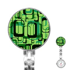 Retro Pattern 1971 Green Stainless Steel Nurses Watches