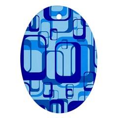 Retro Pattern 1971 Blue Ornament (oval)
