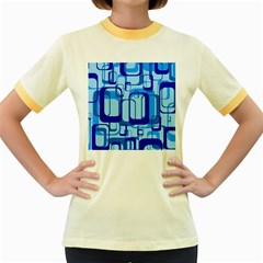 Retro Pattern 1971 Blue Women s Fitted Ringer T-Shirts