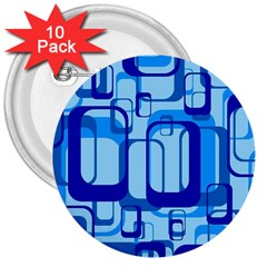 Retro Pattern 1971 Blue 3  Buttons (10 Pack)