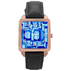 Retro Pattern 1971 Blue Rose Gold Watches