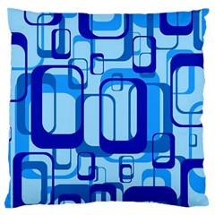 Retro Pattern 1971 Blue Large Flano Cushion Cases (Two Sides)
