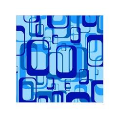 Retro Pattern 1971 Blue Small Satin Scarf (Square)