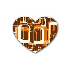 Retro Pattern 1971 Orange Rubber Coaster (heart)