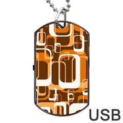 Retro Pattern 1971 Orange Dog Tag USB Flash (Two Sides)