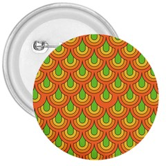 70s Green Orange Pattern 3  Buttons