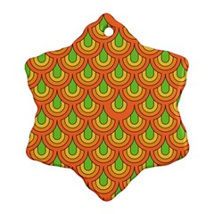 70s Green Orange Pattern Snowflake Ornament (2 Side)