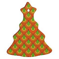 70s Green Orange Pattern Christmas Tree Ornament (2 Sides)