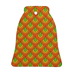 70s Green Orange Pattern Bell Ornament (2 Sides)