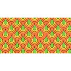 70s Green Orange Pattern YOU ARE INVITED 3D Greeting Card (8x4)