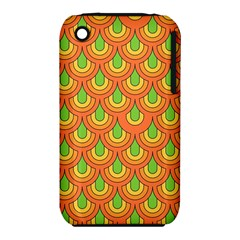70s Green Orange Pattern Apple Iphone 3g/3gs Hardshell Case (pc+silicone)