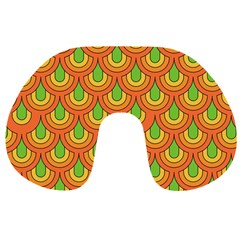 70s Green Orange Pattern Travel Neck Pillows