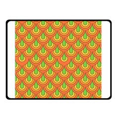 70s Green Orange Pattern Double Sided Fleece Blanket (small)