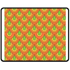 70s Green Orange Pattern Double Sided Fleece Blanket (Medium)