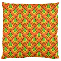 70s Green Orange Pattern Large Flano Cushion Cases (one Side)