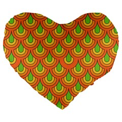 70s Green Orange Pattern Large 19  Premium Flano Heart Shape Cushions