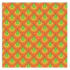 70s Green Orange Pattern Large Satin Scarf (Square)