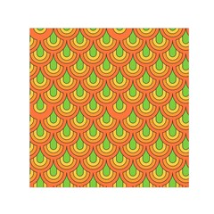 70s Green Orange Pattern Small Satin Scarf (square)
