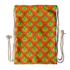 70s Green Orange Pattern Drawstring Bag (Large)
