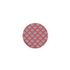 70s Peach Aqua Pattern 1  Mini Magnets