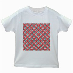 70s Peach Aqua Pattern Kids White T-Shirts