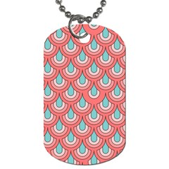 70s Peach Aqua Pattern Dog Tag (one Side)