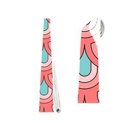 70s Peach Aqua Pattern Neckties (one Side)