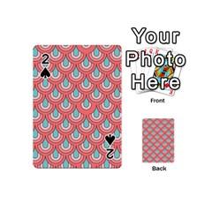 70s Peach Aqua Pattern Playing Cards 54 (Mini)