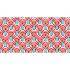 70s Peach Aqua Pattern YOU ARE INVITED 3D Greeting Card (8x4)
