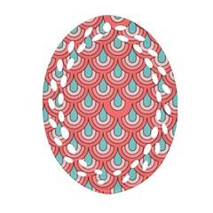 70s Peach Aqua Pattern Ornament (oval Filigree)