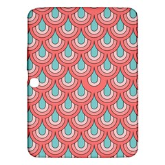 70s Peach Aqua Pattern Samsung Galaxy Tab 3 (10 1 ) P5200 Hardshell Case