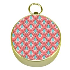 70s Peach Aqua Pattern Gold Compasses