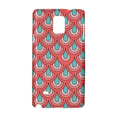 70s Peach Aqua Pattern Samsung Galaxy Note 4 Hardshell Case