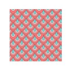 70s Peach Aqua Pattern Small Satin Scarf (Square)