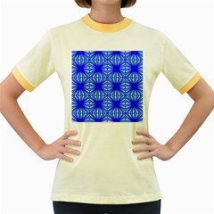 Retro Blue Pattern Women s Fitted Ringer T-Shirts