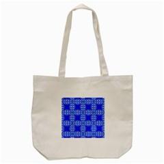 Retro Blue Pattern Tote Bag (Cream)