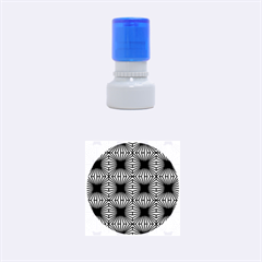 Retro Blue Pattern Rubber Round Stamps (small)
