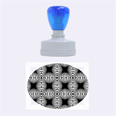 Retro Blue Pattern Rubber Oval Stamps