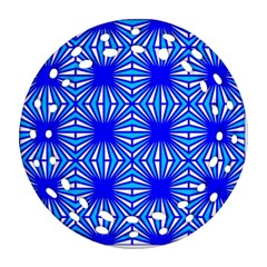 Retro Blue Pattern Ornament (Round Filigree)