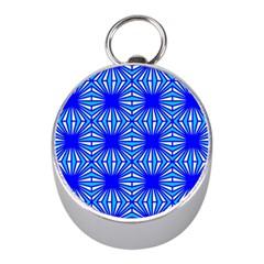 Retro Blue Pattern Mini Silver Compasses