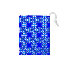 Retro Blue Pattern Drawstring Pouches (small)