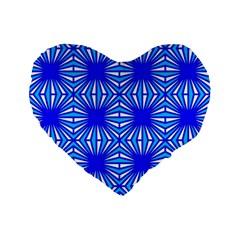 Retro Blue Pattern Standard 16  Premium Flano Heart Shape Cushions